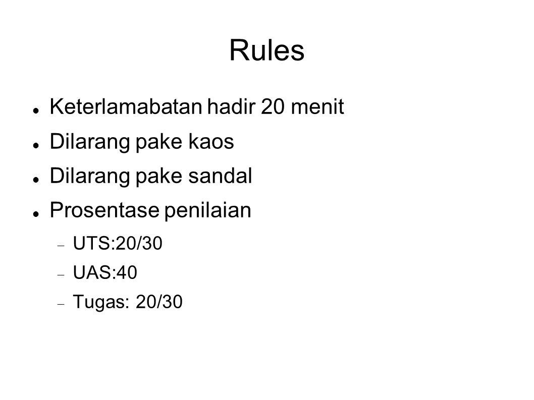 Rules Keterlamabatan hadir 20 menit Dilarang pake kaos Dilarang pake sandal Prosentase penilaian  UTS:20/30  UAS:40  Tugas: 20/30