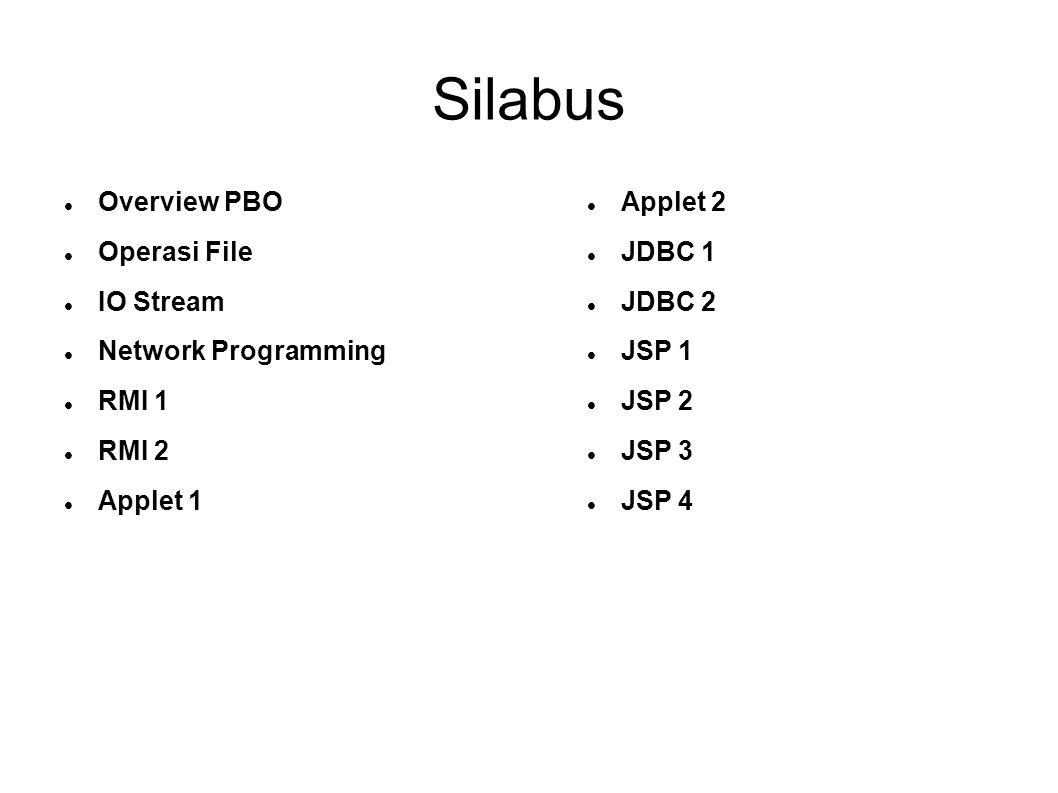 Silabus Overview PBO Operasi File IO Stream Network Programming RMI 1 RMI 2 Applet 1 Applet 2 JDBC 1 JDBC 2 JSP 1 JSP 2 JSP 3 JSP 4