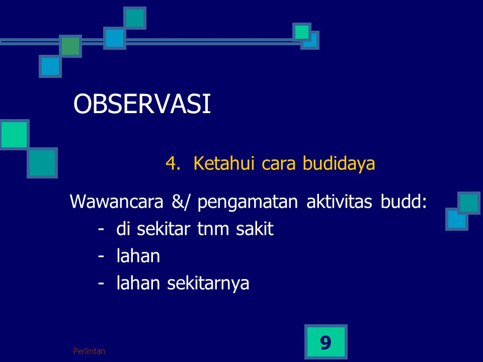 Perlintan 9 OBSERVASI 4. Ketahui cara budidaya Wawancara &/ pengamatan aktivitas budd: - di sekitar tnm sakit - lahan - lahan sekitarnya