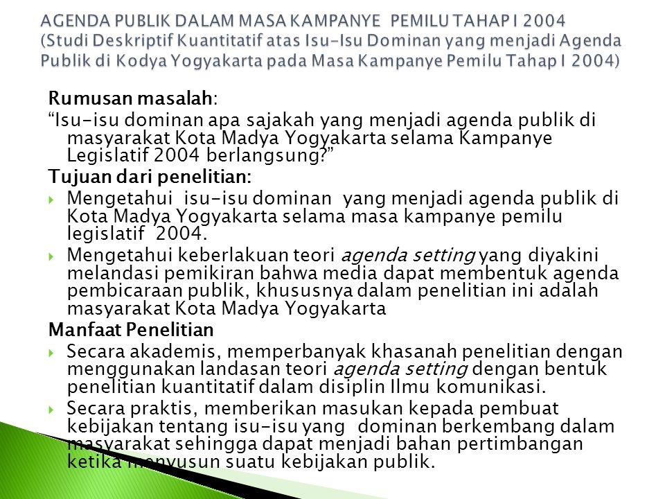 Rumusan masalah: Isu-isu dominan apa sajakah yang menjadi agenda publik di masyarakat Kota Madya Yogyakarta selama Kampanye Legislatif 2004 berlangsung? Tujuan dari penelitian:  Mengetahui isu-isu dominan yang menjadi agenda publik di Kota Madya Yogyakarta selama masa kampanye pemilu legislatif 2004.