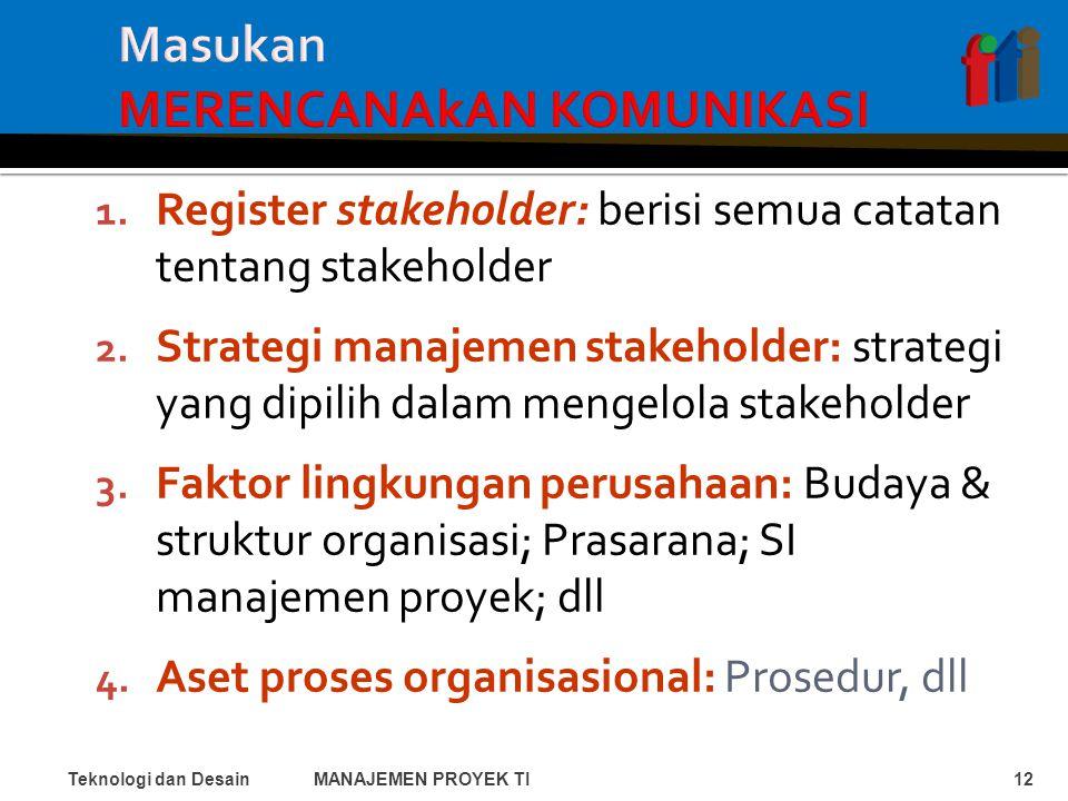 1. Register stakeholder: berisi semua catatan tentang stakeholder 2.