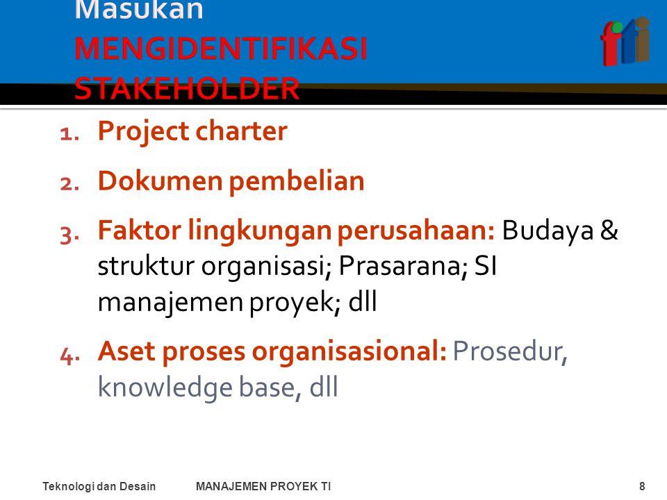 1. Project charter 2. Dokumen pembelian 3.