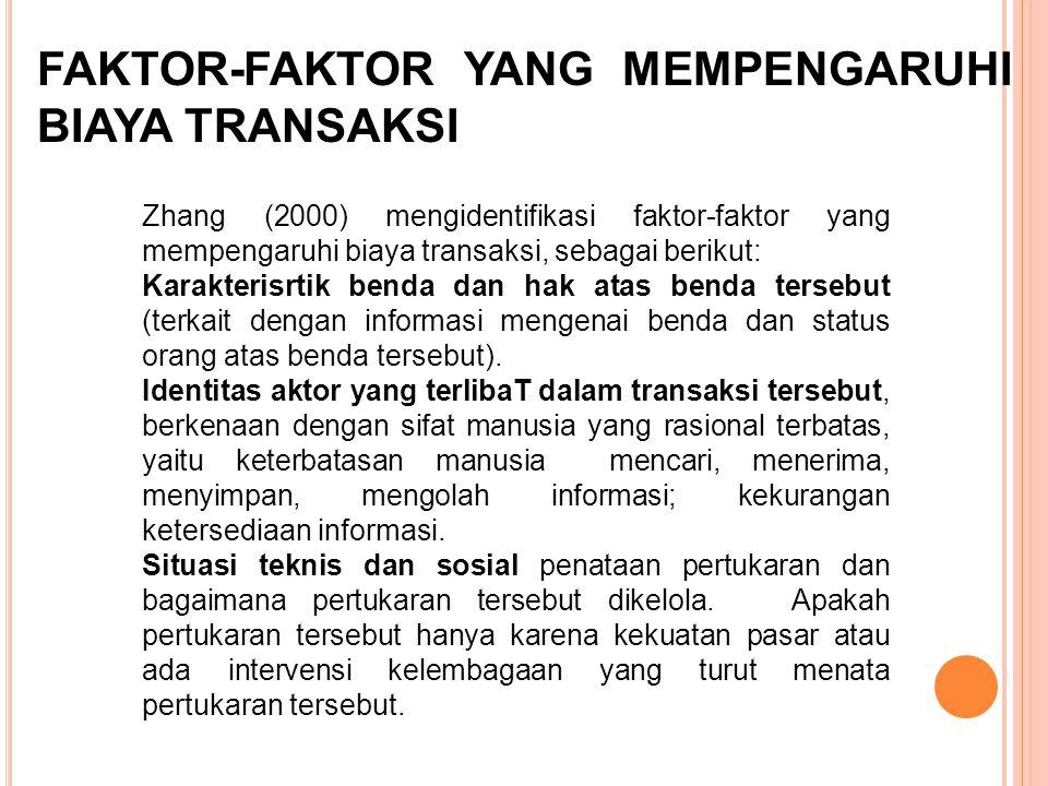 FAKTOR-FAKTOR YANG MEMPENGARUHI BIAYA TRANSAKSI Zhang (2000) mengidentifikasi faktor-faktor yang mempengaruhi biaya transaksi, sebagai berikut: Karakt
