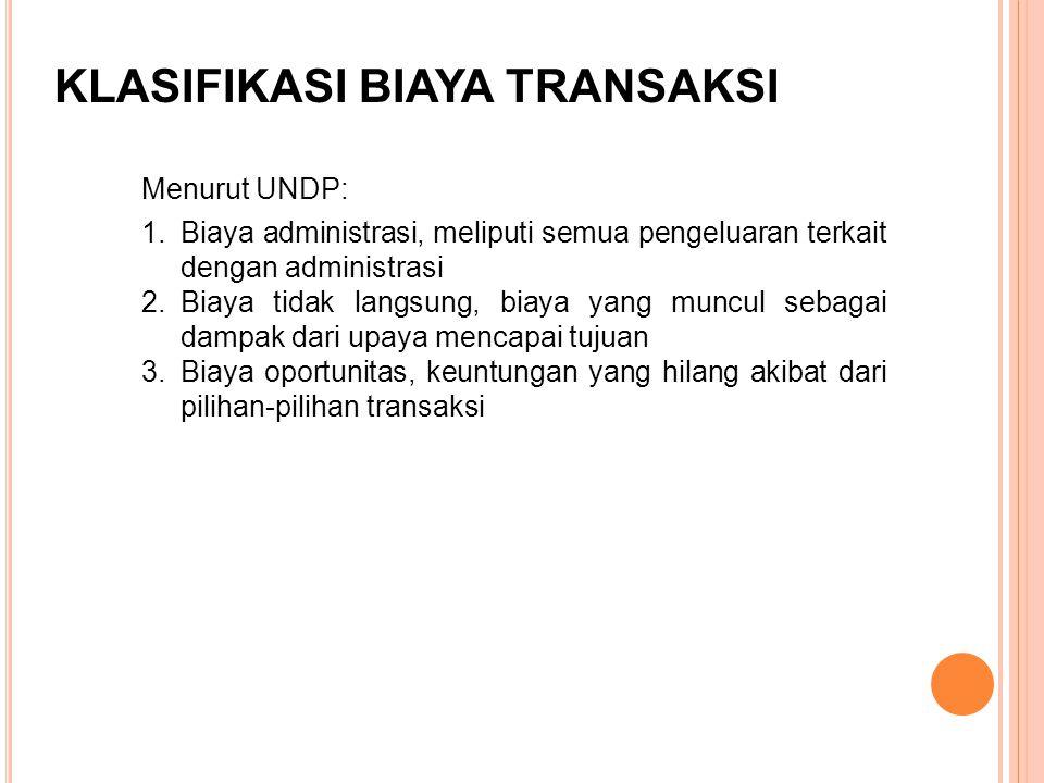 Menurut UNDP: KLASIFIKASI BIAYA TRANSAKSI 1.Biaya administrasi, meliputi semua pengeluaran terkait dengan administrasi 2.Biaya tidak langsung, biaya y