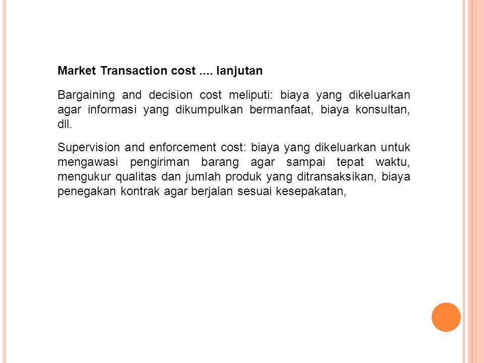 Bargaining and decision cost meliputi: biaya yang dikeluarkan agar informasi yang dikumpulkan bermanfaat, biaya konsultan, dll. Market Transaction cos