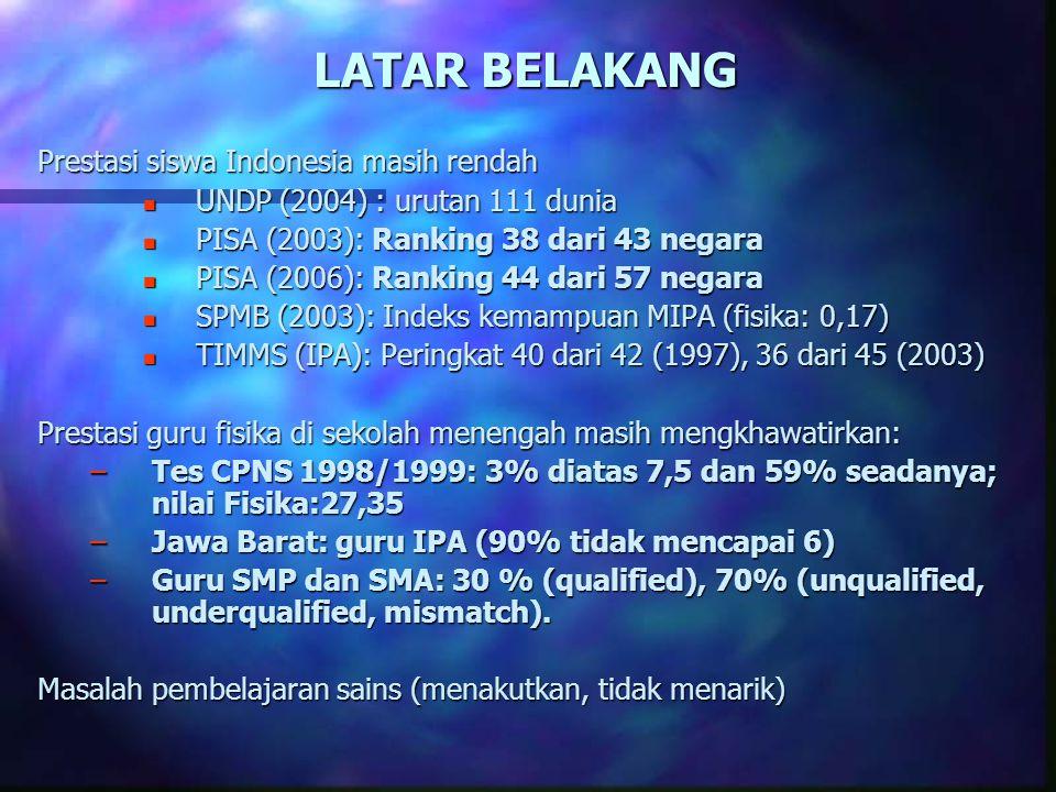 LATAR BELAKANG Prestasi siswa Indonesia masih rendah n UNDP (2004) : urutan 111 dunia n PISA (2003): Ranking 38 dari 43 negara n PISA (2006): Ranking