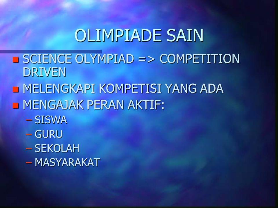 OLIMPIADE SAIN n SCIENCE OLYMPIAD => COMPETITION DRIVEN n MELENGKAPI KOMPETISI YANG ADA n MENGAJAK PERAN AKTIF: –SISWA –GURU –SEKOLAH –MASYARAKAT
