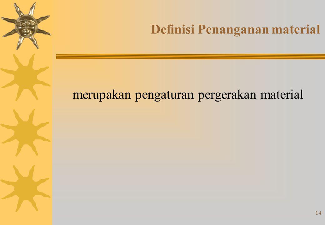 14 Definisi Penanganan material merupakan pengaturan pergerakan material