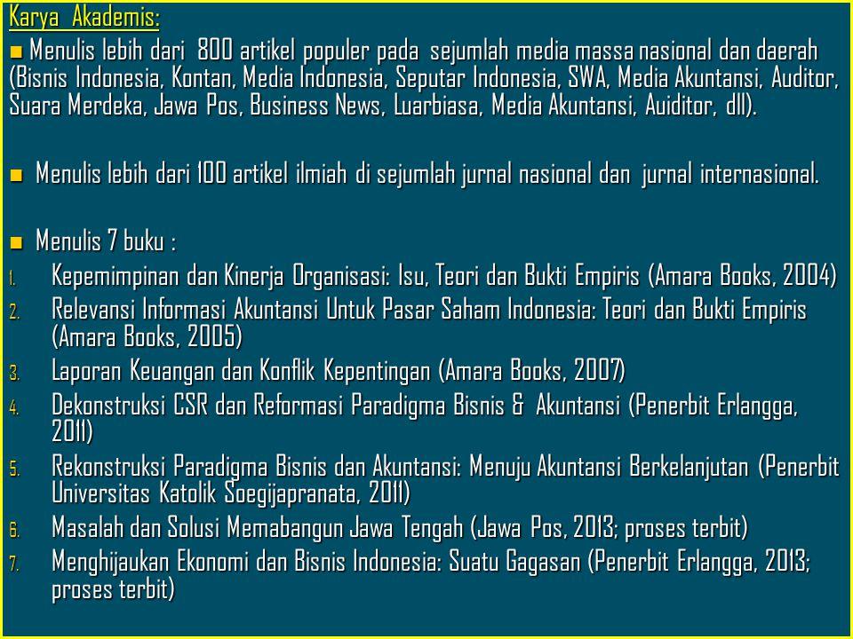 Riwayat Jabatan publik Pengurus Pusat IAI-KAPd seksi Corporate Governance dan CSR (2012-2015) Pengurus Pusat IAI-KAPd seksi Corporate Governance dan CSR (2012-2015) Ketua Wilayah IAI-KAPd Jawa Tengah (2010-2012) Ketua Wilayah IAI-KAPd Jawa Tengah (2010-2012) Konsultan Bappeda Jawa Tengah (2013- sekarang) Konsultan Bappeda Jawa Tengah (2013- sekarang) Kolumnis tetap Jawa Pos Radar Semarang (2010-sekarang) Kolumnis tetap Jawa Pos Radar Semarang (2010-sekarang) Kolumni tetap majalah motivasi LUARBIASA (2011-sekarang) Kolumni tetap majalah motivasi LUARBIASA (2011-sekarang) Konsultan PDAM Kota Semarang (2009) dan Anggota Tim tarif Independen PDAM 2008-2013 Konsultan PDAM Kota Semarang (2009) dan Anggota Tim tarif Independen PDAM 2008-2013 Konsultan Keuangan Amartha institute (2008-2013) Konsultan Keuangan Amartha institute (2008-2013) Inisiator CSR Bersama dan anggota Tim penanggulangan kemiskinan Kota Semarang (2010-2013) Inisiator CSR Bersama dan anggota Tim penanggulangan kemiskinan Kota Semarang (2010-2013) Inisiator CSR Bersama Jawa Tengah (2013- sekarang) Inisiator CSR Bersama Jawa Tengah (2013- sekarang) Anggota Tim Pakar Penilai Amdal Jawa Tengah Anggota Tim Pakar Penilai Amdal Jawa Tengah Penasihat Keuangan dan Pendidikab Pemkab Ngada, NTT Penasihat Keuangan dan Pendidikab Pemkab Ngada, NTT dll dll