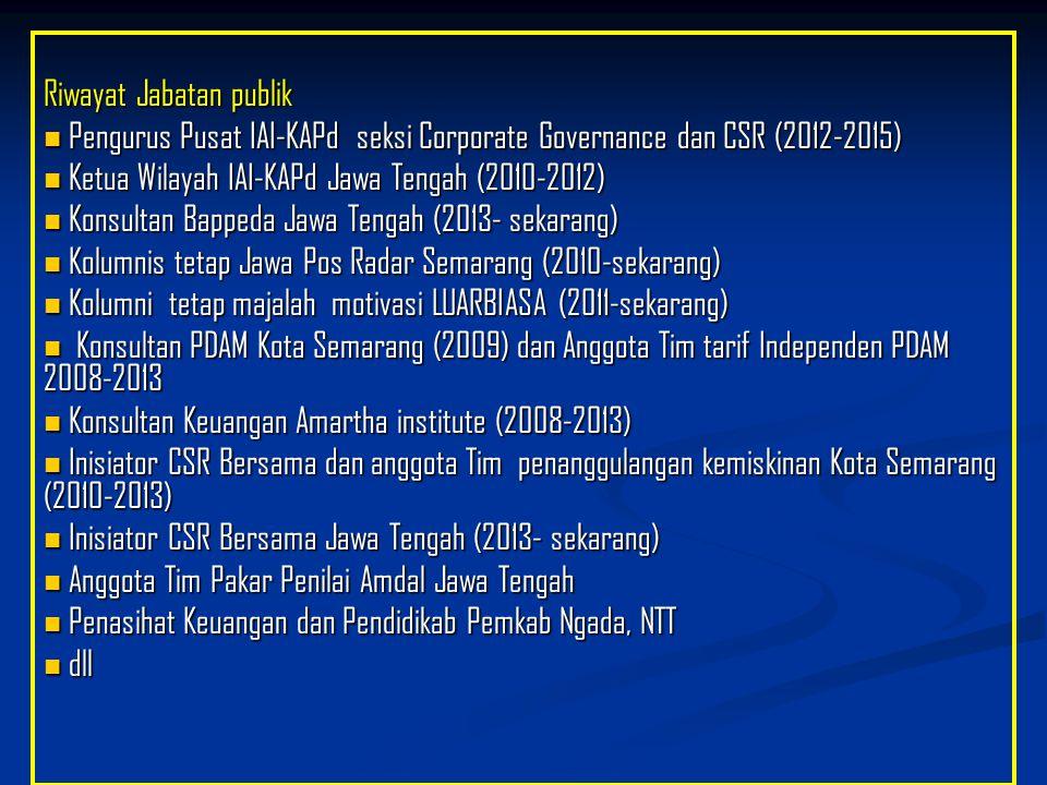 Riwayat Jabatan publik Pengurus Pusat IAI-KAPd seksi Corporate Governance dan CSR (2012-2015) Pengurus Pusat IAI-KAPd seksi Corporate Governance dan C