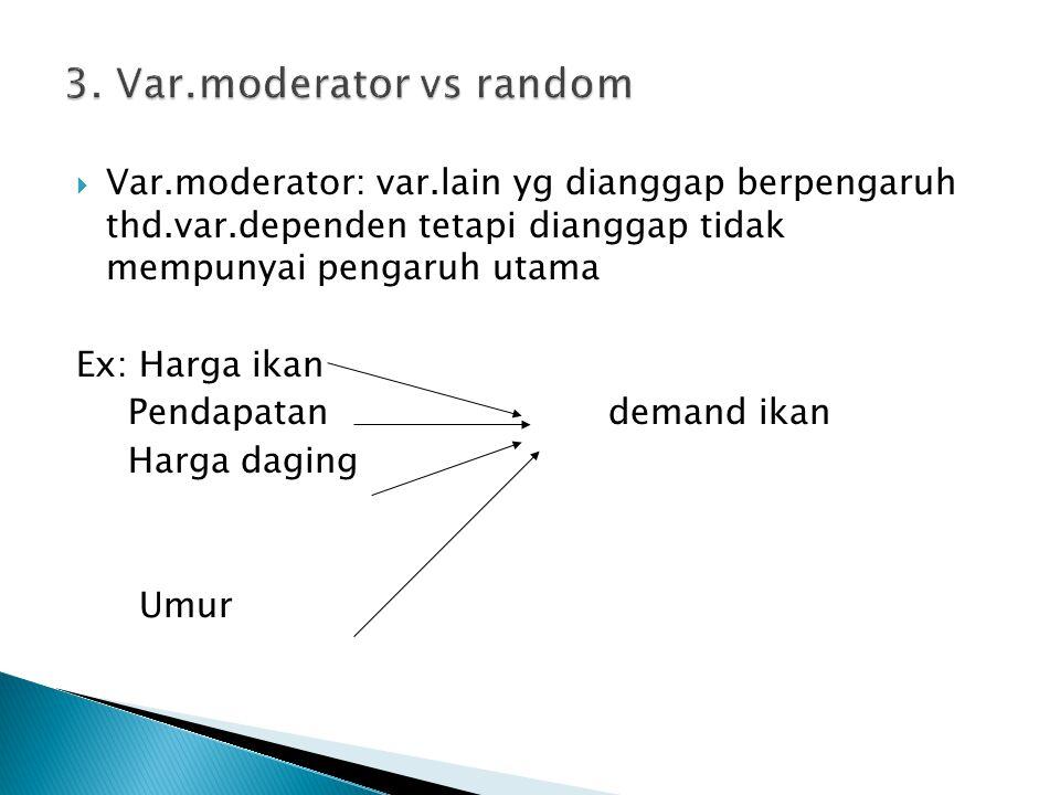  Var.moderator: var.lain yg dianggap berpengaruh thd.var.dependen tetapi dianggap tidak mempunyai pengaruh utama Ex: Harga ikan Pendapatan demand ikan Harga daging Umur