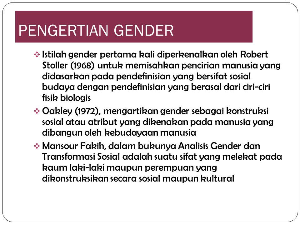 PENGERTIAN GENDER  Istilah gender pertama kali diperkenalkan oleh Robert Stoller (1968) untuk memisahkan pencirian manusia yang didasarkan pada pende