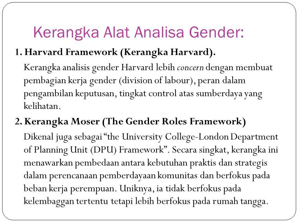 Kerangka Alat Analisa Gender: 1. Harvard Framework (Kerangka Harvard). Kerangka analisis gender Harvard lebih concern dengan membuat pembagian kerja g