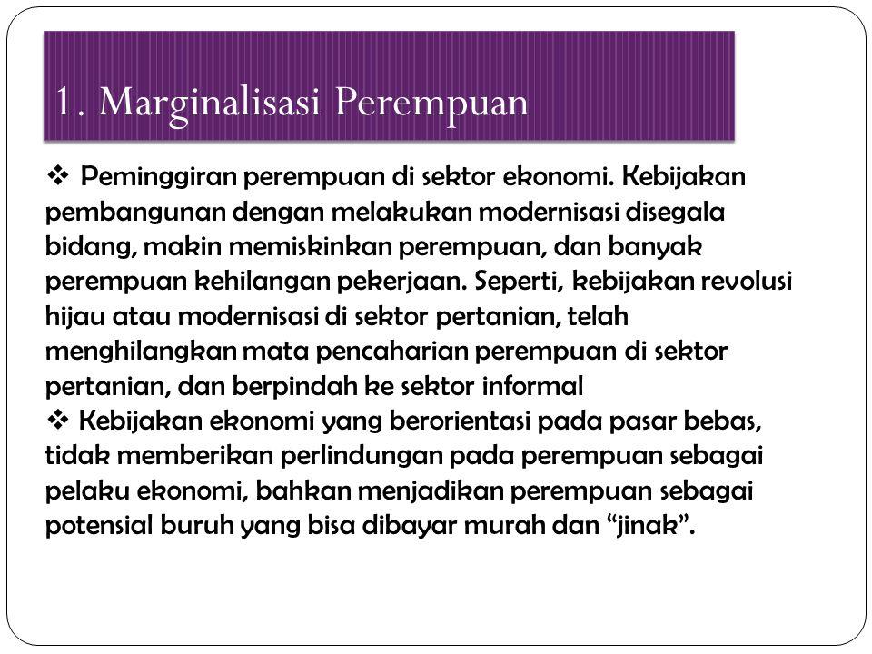 1. Marginalisasi Perempuan  Peminggiran perempuan di sektor ekonomi. Kebijakan pembangunan dengan melakukan modernisasi disegala bidang, makin memisk