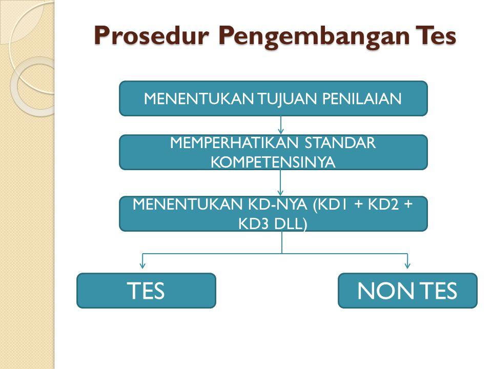Prosedur Pengembangan Tes MENENTUKAN TUJUAN PENILAIAN MEMPERHATIKAN STANDAR KOMPETENSINYA MENENTUKAN KD-NYA (KD1 + KD2 + KD3 DLL) TESNON TES