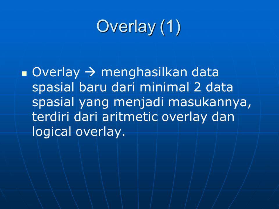 Overlay (1) Overlay  menghasilkan data spasial baru dari minimal 2 data spasial yang menjadi masukannya, terdiri dari aritmetic overlay dan logical o