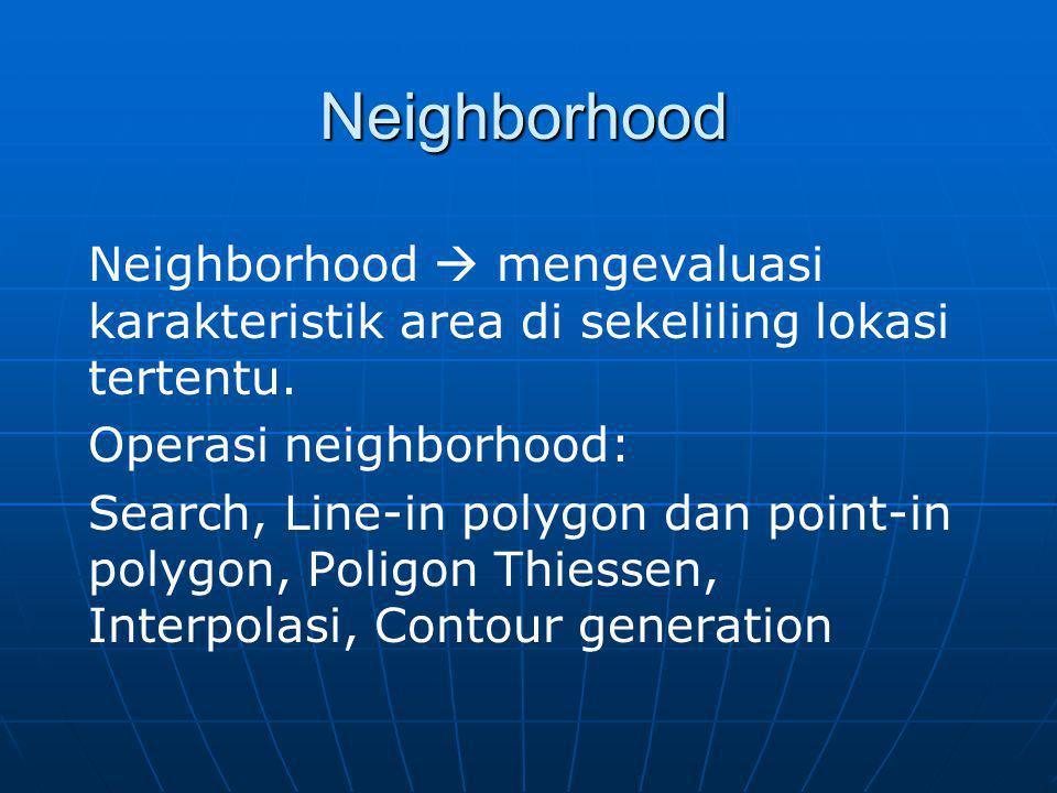 Neighborhood Neighborhood  mengevaluasi karakteristik area di sekeliling lokasi tertentu. Operasi neighborhood: Search, Line-in polygon dan point-in