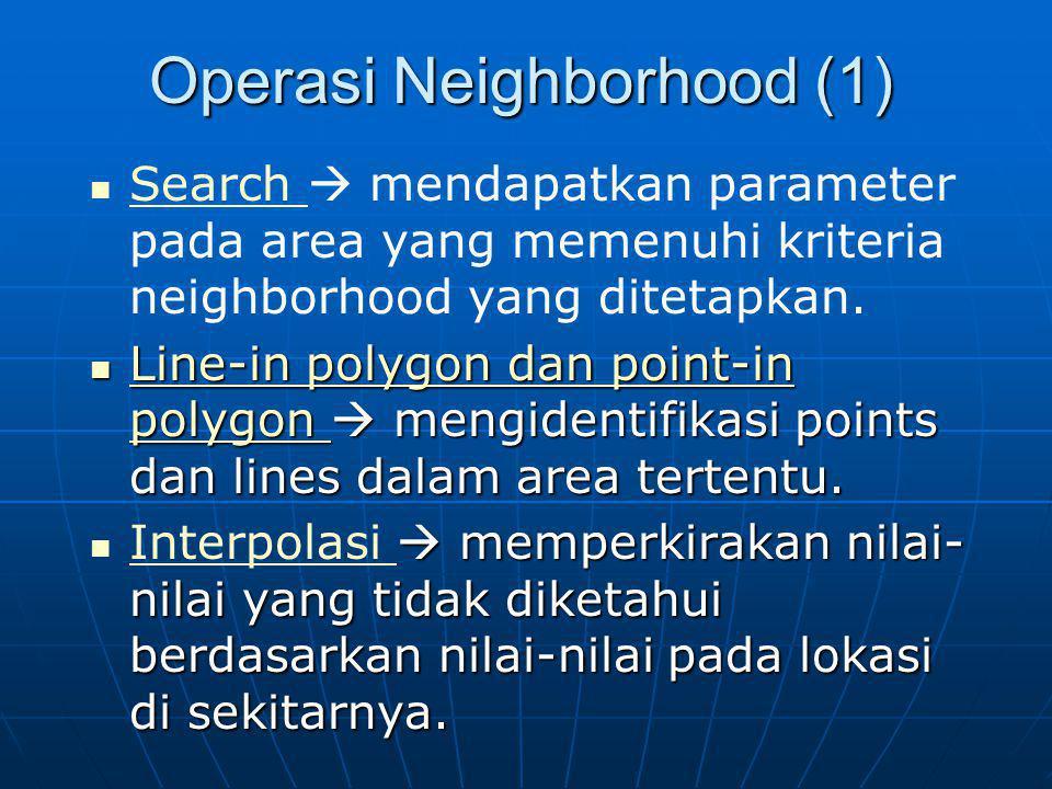 Operasi Neighborhood (1) Search  mendapatkan parameter pada area yang memenuhi kriteria neighborhood yang ditetapkan. Search Line-in polygon dan poin