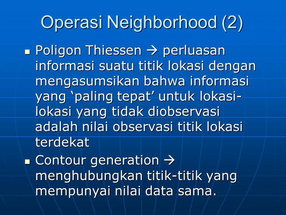 Operasi Neighborhood (2) Poligon Thiessen  perluasan informasi suatu titik lokasi dengan mengasumsikan bahwa informasi yang 'paling tepat' untuk loka