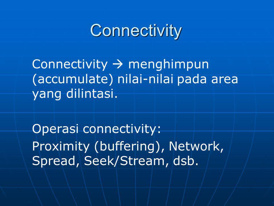 Connectivity Connectivity  menghimpun (accumulate) nilai-nilai pada area yang dilintasi. Operasi connectivity: Proximity (buffering), Network, Spread