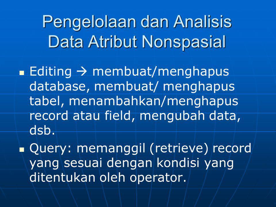 Pengelolaan dan Analisis Data Atribut Nonspasial Editing  membuat/menghapus database, membuat/ menghapus tabel, menambahkan/menghapus record atau fie