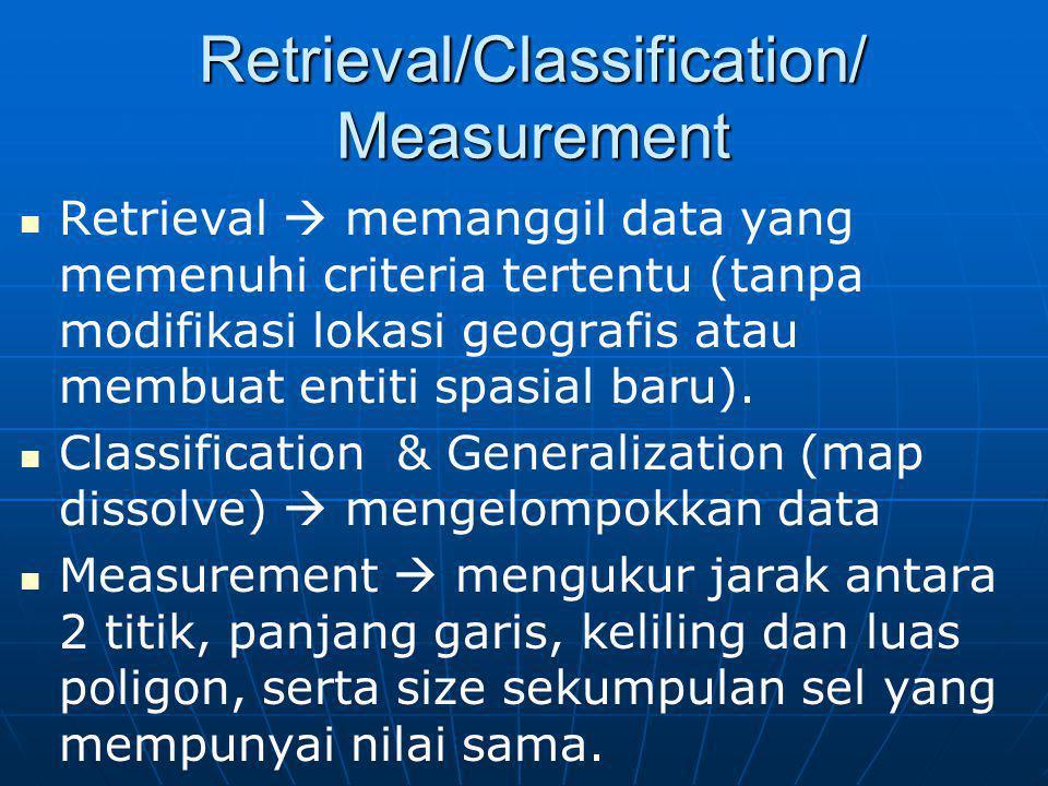 Retrieval/Classification/ Measurement Retrieval  memanggil data yang memenuhi criteria tertentu (tanpa modifikasi lokasi geografis atau membuat entit