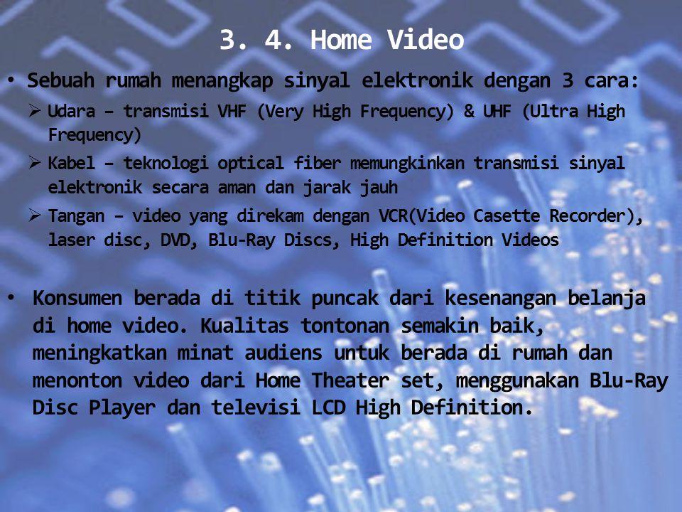 3. 4. Home Video Sebuah rumah menangkap sinyal elektronik dengan 3 cara:  Udara – transmisi VHF (Very High Frequency) & UHF (Ultra High Frequency) 