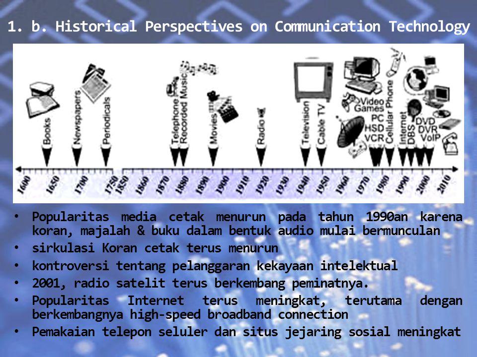 1. b. Historical Perspectives on Communication Technology Popularitas media cetak menurun pada tahun 1990an karena koran, majalah & buku dalam bentuk
