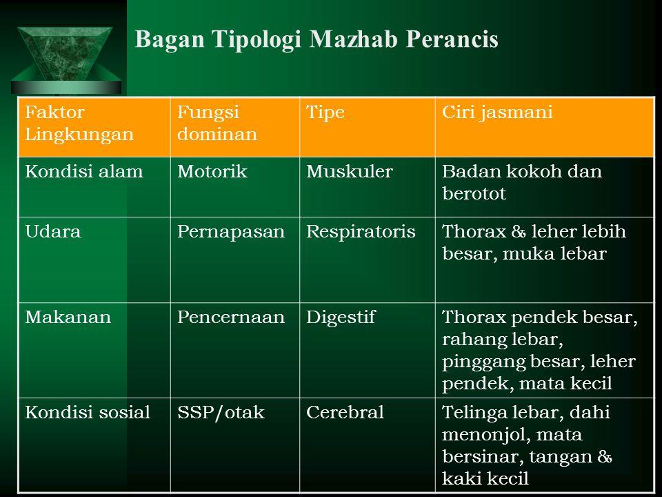 Bagan Tipologi Mazhab Perancis Faktor Lingkungan Fungsi dominan TipeCiri jasmani Kondisi alamMotorikMuskulerBadan kokoh dan berotot UdaraPernapasanRes