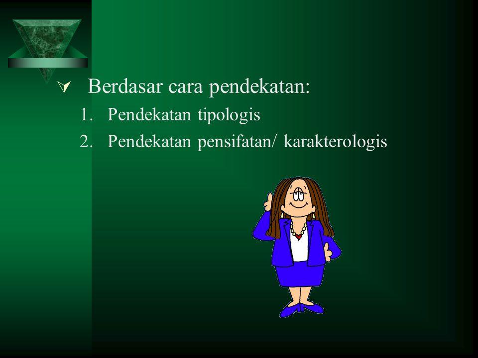  Berdasar cara pendekatan: 1.Pendekatan tipologis 2.Pendekatan pensifatan/ karakterologis