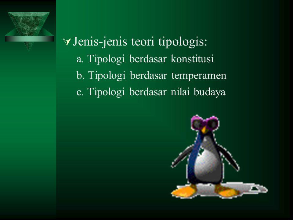  Jenis-jenis teori tipologis: a. Tipologi berdasar konstitusi b. Tipologi berdasar temperamen c. Tipologi berdasar nilai budaya