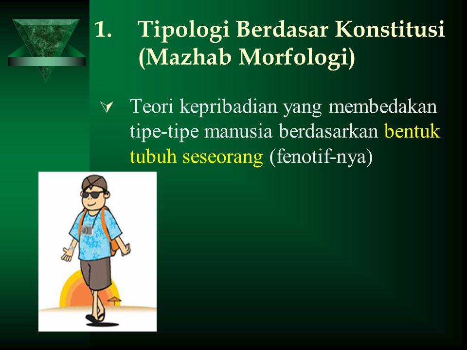 Mesomorphic Body Type: CIRI JASMANI:  hard, muscular body  overly mature appearance  rectangular shaped  thick skin  upright posture SIFAT KEPRIBADIAN → Somatotonia temperament :  adventurous  desire for power and dominance  courageous  indifference to what others think or want  assertive, bold  zest for physical activity  competitive  love of risk and chance