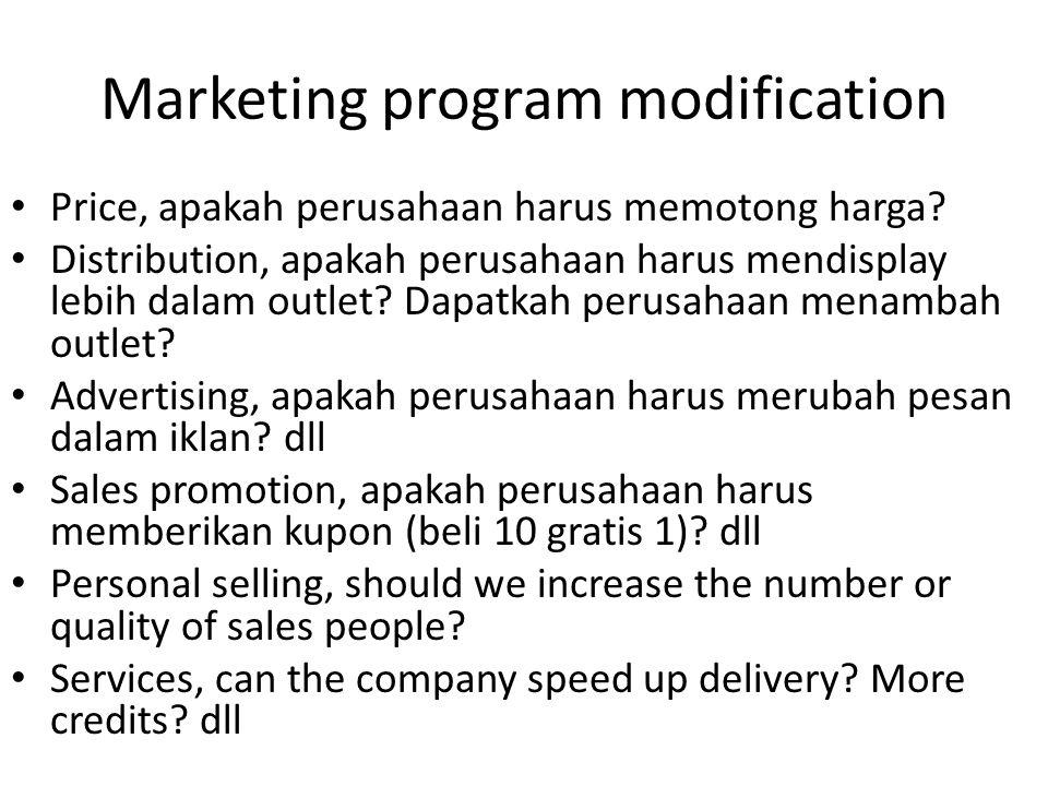 Marketing program modification Price, apakah perusahaan harus memotong harga? Distribution, apakah perusahaan harus mendisplay lebih dalam outlet? Dap