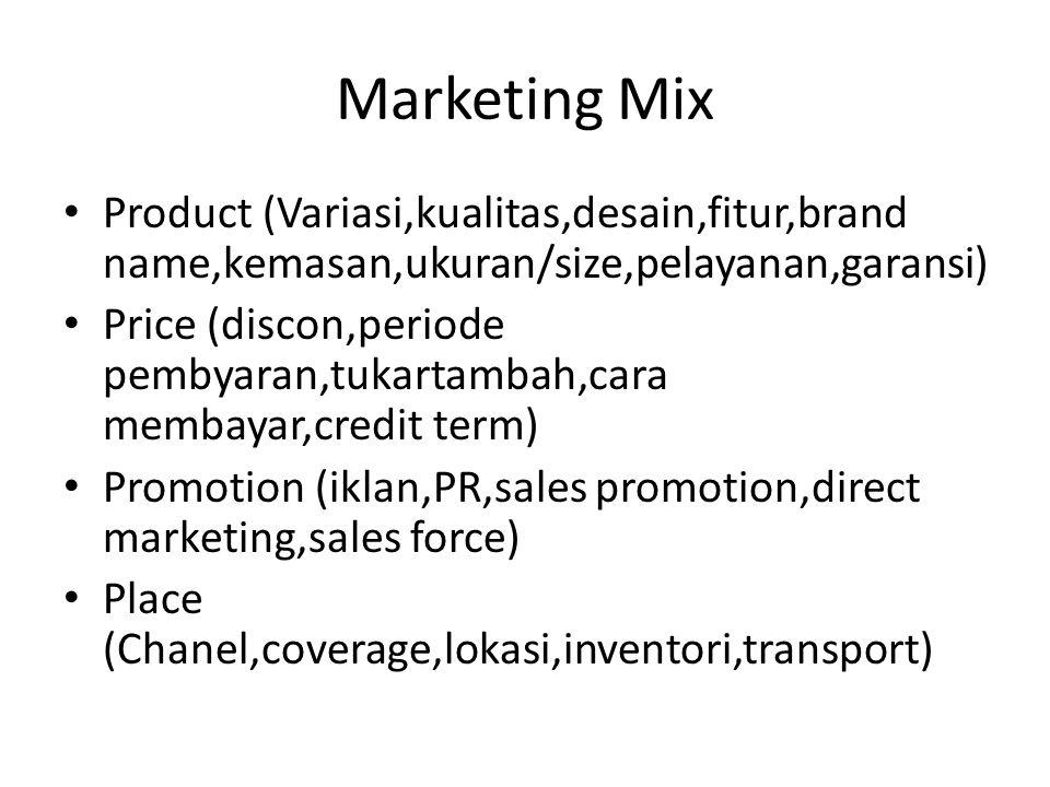 Marketing Mix Product (Variasi,kualitas,desain,fitur,brand name,kemasan,ukuran/size,pelayanan,garansi) Price (discon,periode pembyaran,tukartambah,car