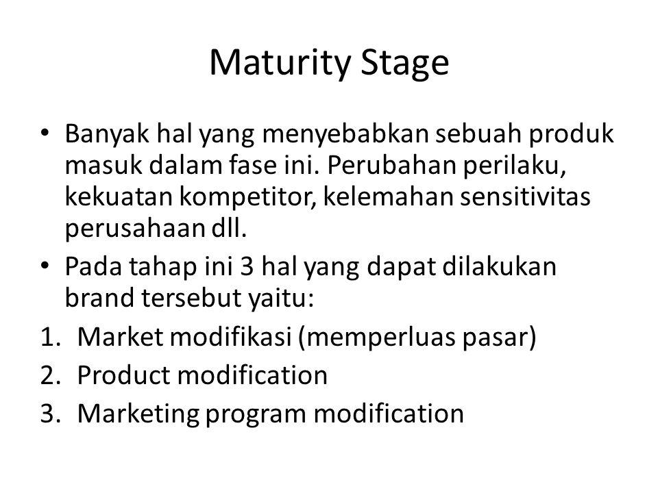 Maturity Stage Banyak hal yang menyebabkan sebuah produk masuk dalam fase ini. Perubahan perilaku, kekuatan kompetitor, kelemahan sensitivitas perusah