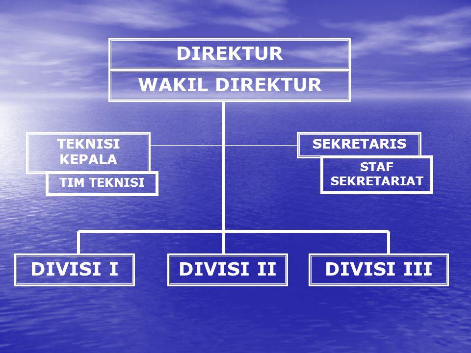 DIREKTUR WAKIL DIREKTUR SEKRETARISTEKNISI KEPALA TIM TEKNISI STAF SEKRETARIAT DIVISI IDIVISI IIDIVISI III