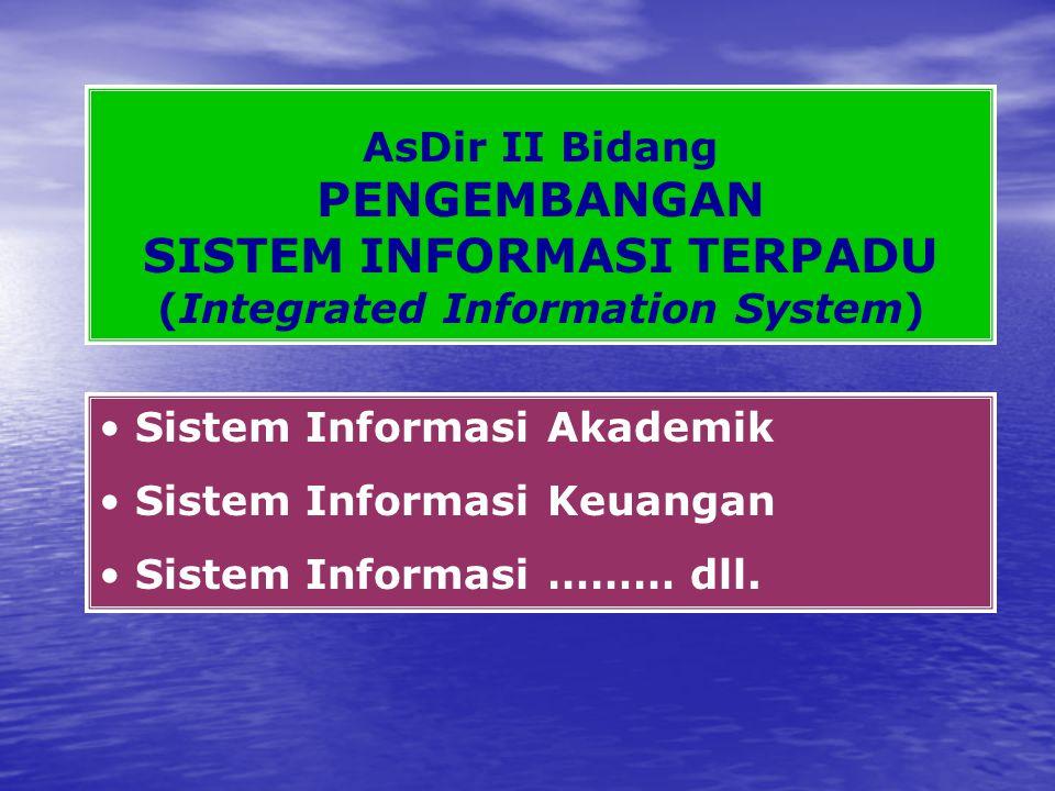 AsDir II Bidang PENGEMBANGAN SISTEM INFORMASI TERPADU (Integrated Information System) Sistem Informasi Akademik Sistem Informasi Keuangan Sistem Informasi ……… dll.