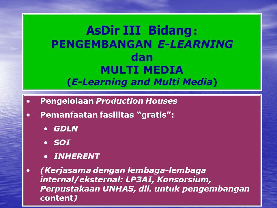 AsDir III Bidang : PENGEMBANGAN E-LEARNING dan MULTI MEDIA (E-Learning and Multi Media) Pengelolaan Production Houses Pemanfaatan fasilitas gratis : GDLN SOI INHERENT (Kerjasama dengan lembaga-lembaga internal/eksternal: LP3AI, Konsorsium, Perpustakaan UNHAS, dll.