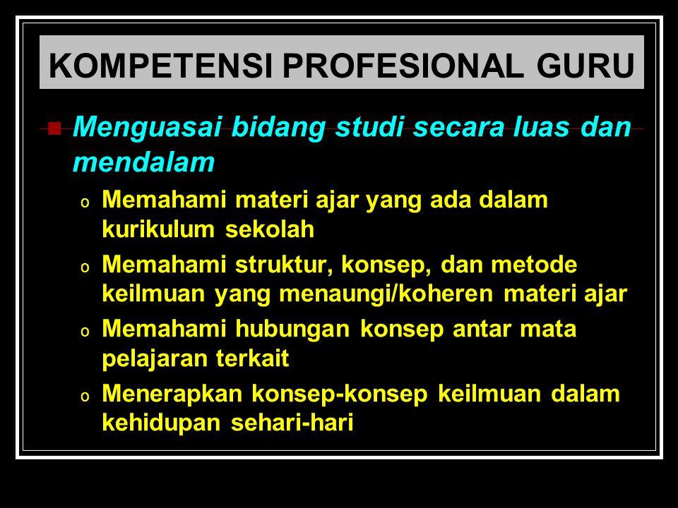 KOMPETENSI PROFESIONAL GURU Menguasai bidang studi secara luas dan mendalam o Memahami materi ajar yang ada dalam kurikulum sekolah o Memahami struktu