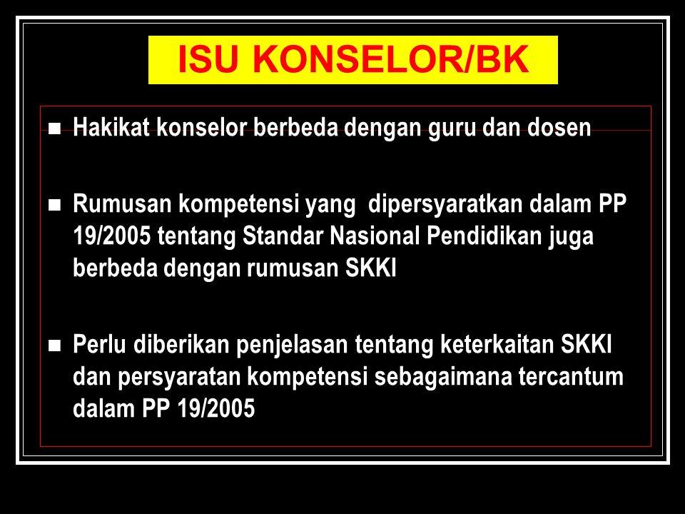 ISU KONSELOR/BK Hakikat konselor berbeda dengan guru dan dosen Rumusan kompetensi yang dipersyaratkan dalam PP 19/2005 tentang Standar Nasional Pendid