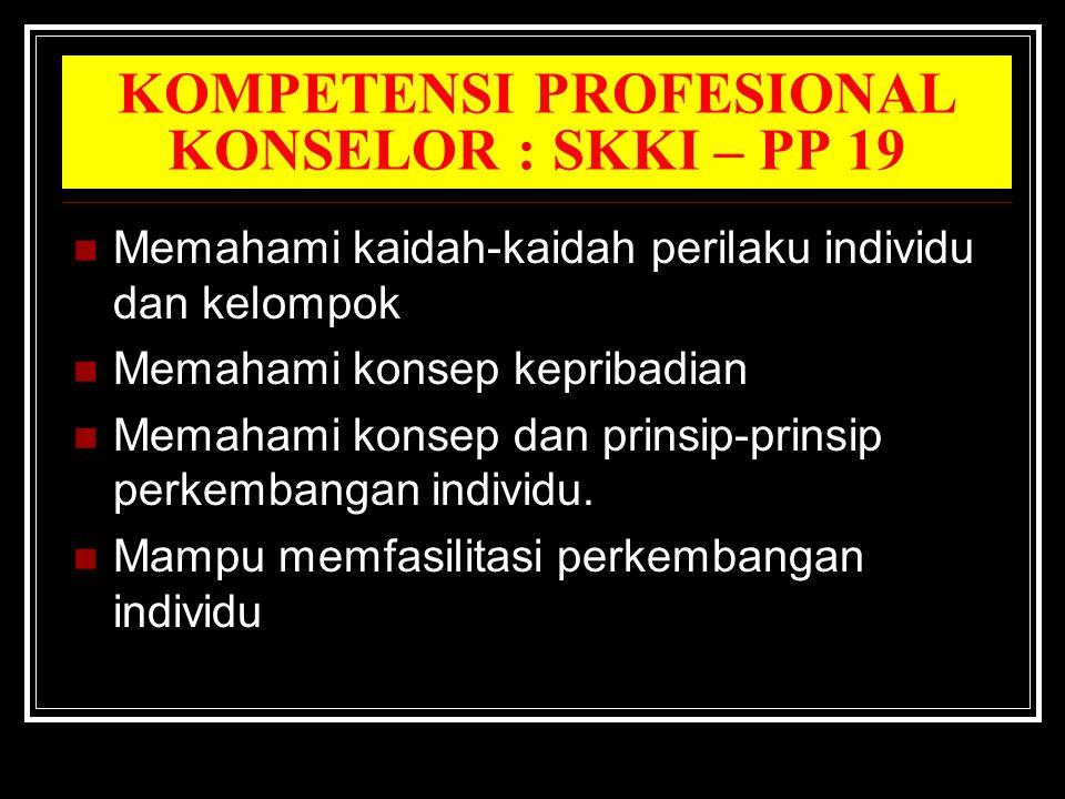 KOMPETENSI PROFESIONAL KONSELOR : SKKI – PP 19 Memahami kaidah-kaidah perilaku individu dan kelompok Memahami konsep kepribadian Memahami konsep dan prinsip-prinsip perkembangan individu.