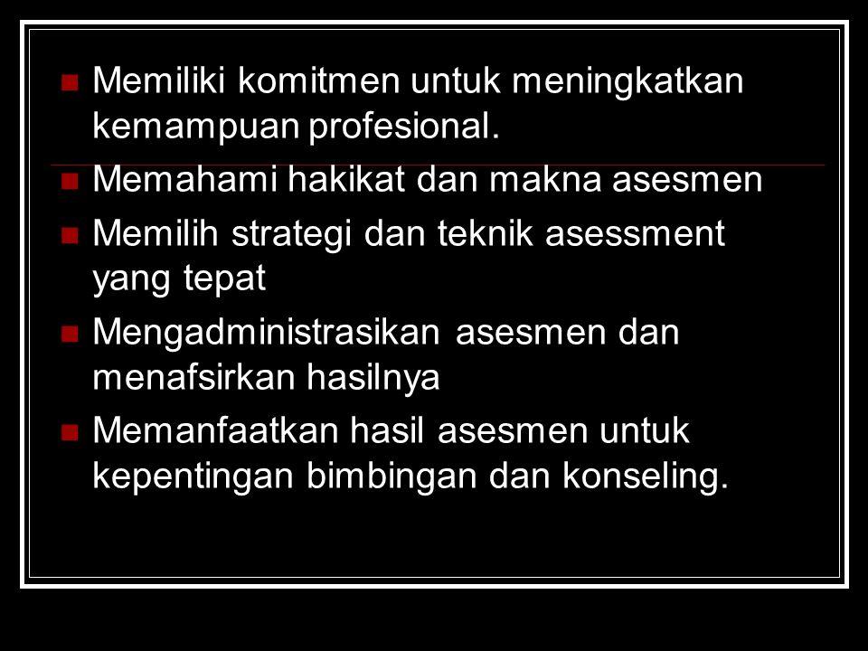 Memiliki komitmen untuk meningkatkan kemampuan profesional. Memahami hakikat dan makna asesmen Memilih strategi dan teknik asessment yang tepat Mengad