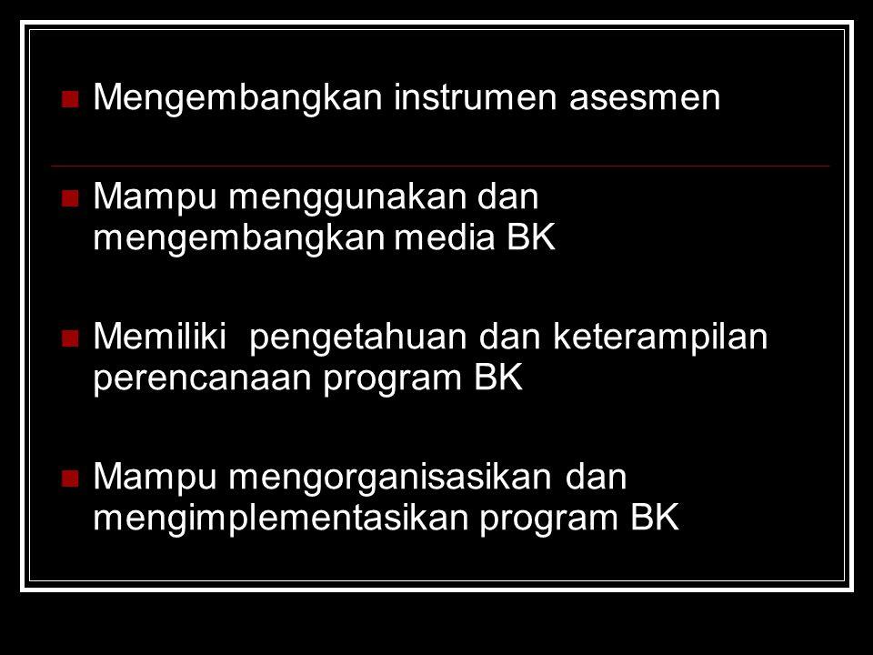 Mengembangkan instrumen asesmen Mampu menggunakan dan mengembangkan media BK Memiliki pengetahuan dan keterampilan perencanaan program BK Mampu mengorganisasikan dan mengimplementasikan program BK