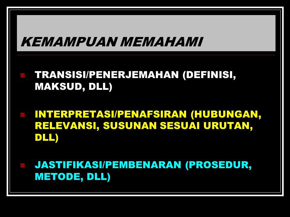 KEMAMPUAN MEMAHAMI TRANSISI/PENERJEMAHAN (DEFINISI, MAKSUD, DLL) INTERPRETASI/PENAFSIRAN (HUBUNGAN, RELEVANSI, SUSUNAN SESUAI URUTAN, DLL) JASTIFIKASI/PEMBENARAN (PROSEDUR, METODE, DLL)