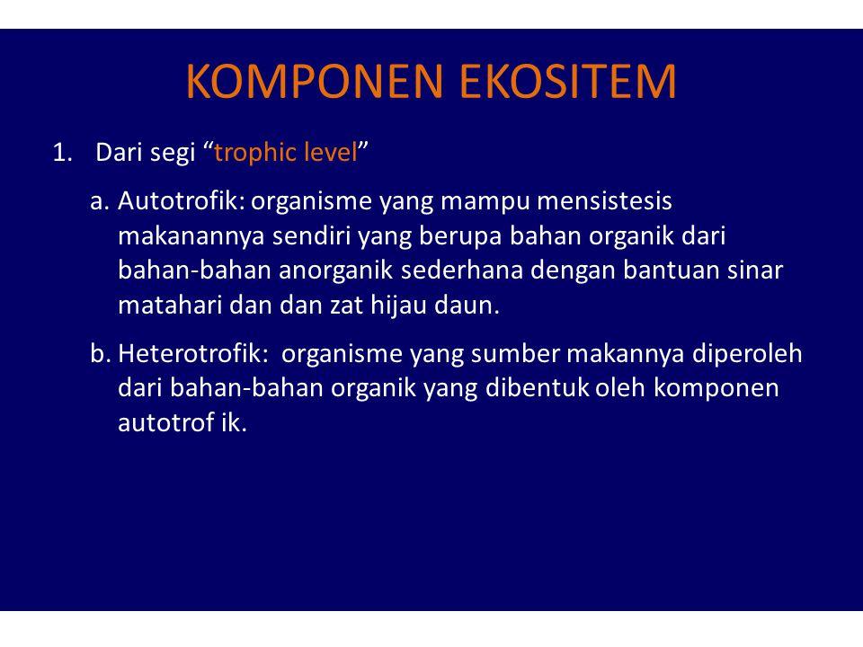 KOMPONEN EKOSITEM 1.Dari segi trophic level a.Autotrofik: organisme yang mampu mensistesis makanannya sendiri yang berupa bahan organik dari bahan-bahan anorganik sederhana dengan bantuan sinar matahari dan dan zat hijau daun.
