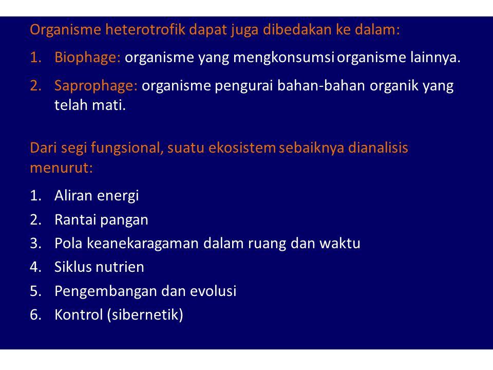 KOMPONEN EKOSITEM 3. Untuk tujuan deskriptif: a.Bahan-bahan organik (C, N, CO 2, H 2 O, dll) b.Senyawa organik (protein, lemak, karbohidrat, dll) c.Ik