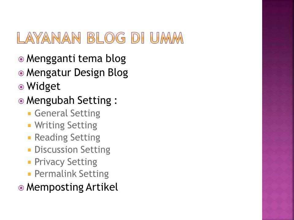  Mendaftar di http://id.wordpress.comhttp://id.wordpress.com  Mengganti tema Blog  Mengatur Design Blog  Mengubah Setting  General Setting  Writing Setting  Posting Artikel