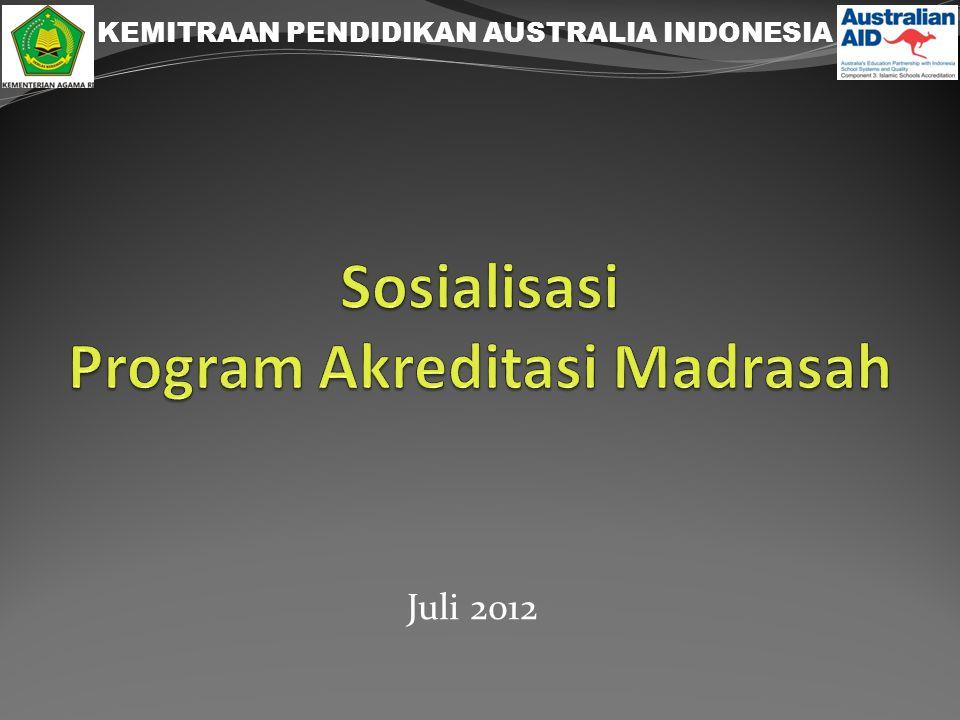BAGAN KEGIATAN MADRASAH (indikatif) T2 9/12 T3 10/13 T1 6/12 MONITORING by SNIP PENDAMPINGAN Teken Kontrak (18-19/6/12) Penyusunan EDS/M Penyusunan RKM KTSP Hidup Sehat Perpus PAKEM Lokakarya penyusunan Green House Media ajar Pengadaan Fisik Review Uji coba Pengesahan Madrasah Bersih Rehab Toilet Cuci tangan Minat Baca Media belajar Koleksi buku dll.
