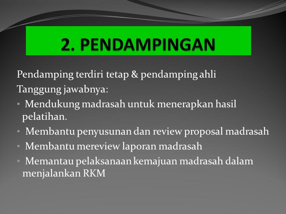 Pendamping terdiri tetap & pendamping ahli Tanggung jawabnya: Mendukung madrasah untuk menerapkan hasil pelatihan. Membantu penyusunan dan review prop