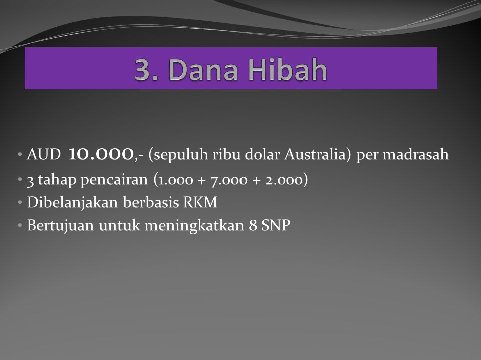 AUD 10.000,- (sepuluh ribu dolar Australia) per madrasah 3 tahap pencairan (1.000 + 7.000 + 2.000) Dibelanjakan berbasis RKM Bertujuan untuk meningkatkan 8 SNP
